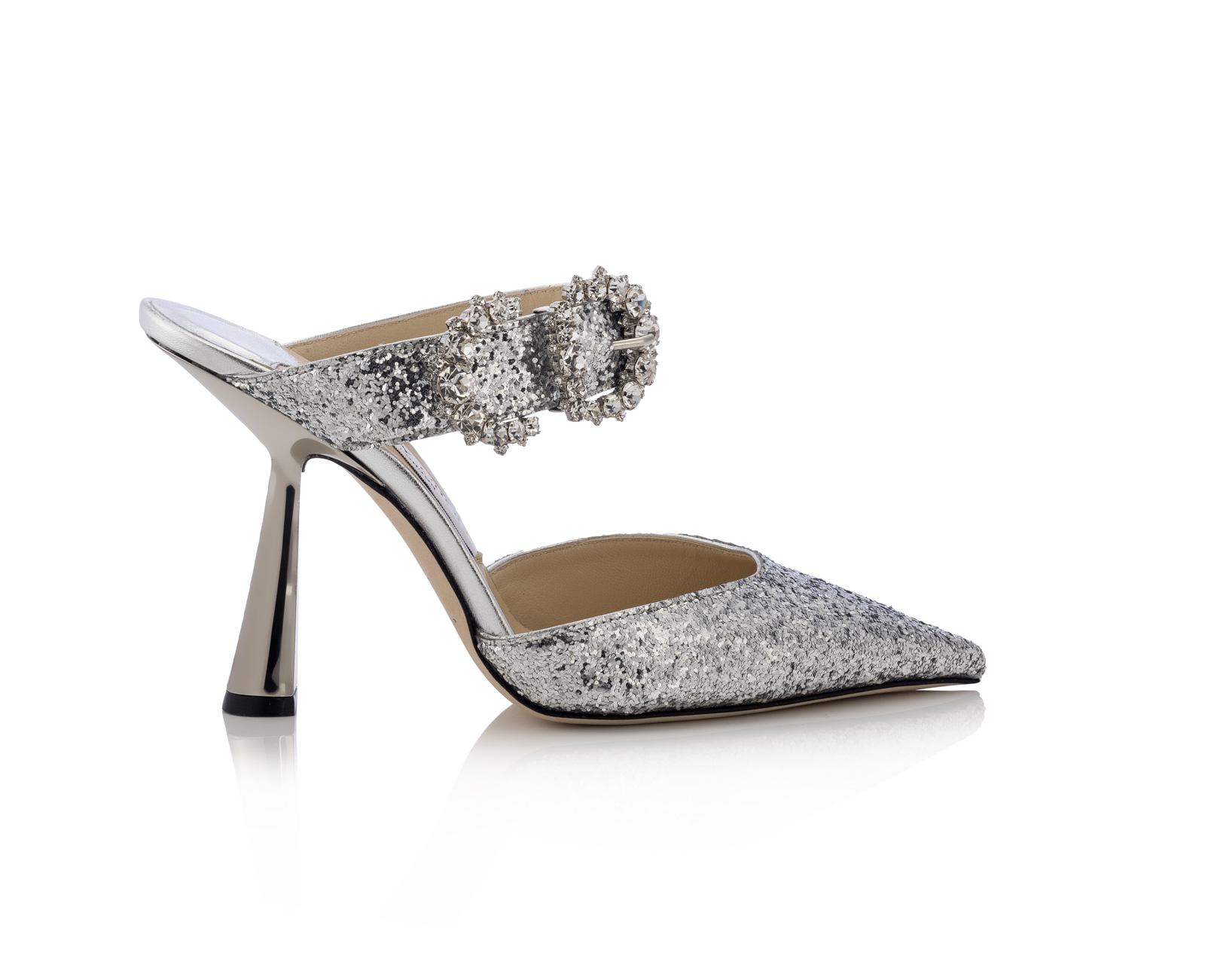 JIMMY CHOO SMOKEY 100 GALACTICA GLITTER FABRIC W JEWELLED BUCKLE SILVER